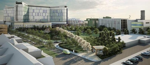 Artist's impression of King's College Hospital Chandigarh, Ind