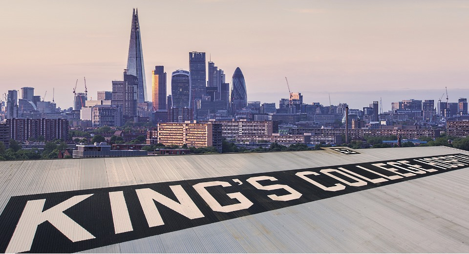 King's Helipad and London skyline at dusk